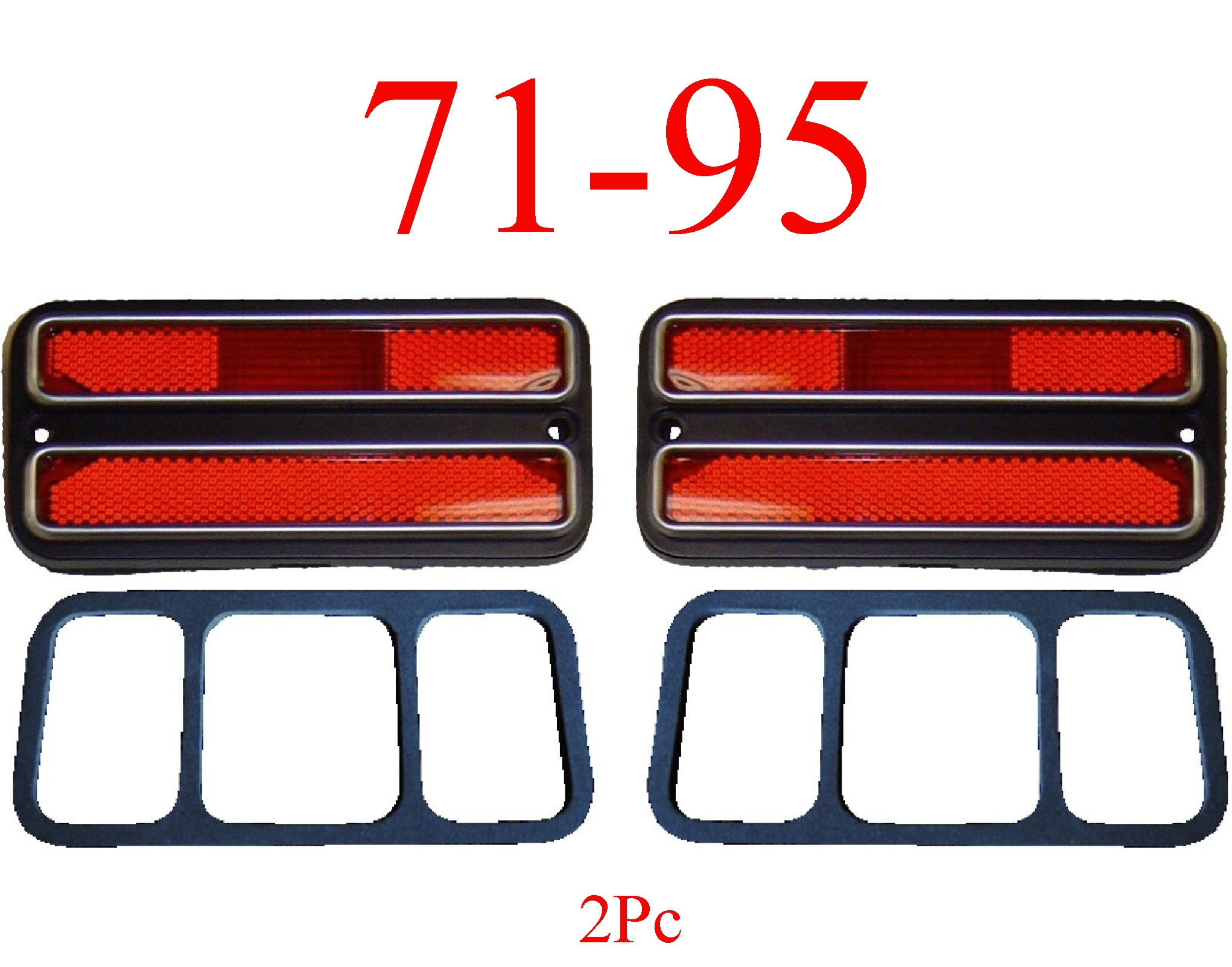 71-95 Chevy Van 2Pc Deluxe Red Rear Side Lights